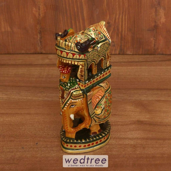 Wooden Hand Painted Ambabari Elephant 6 Inch - W3931 Home Decors