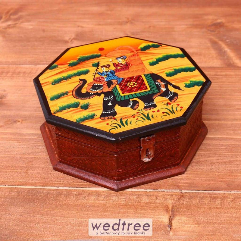 Wooden Hand Painted Dry Fruit Box 8 Inch - W3623