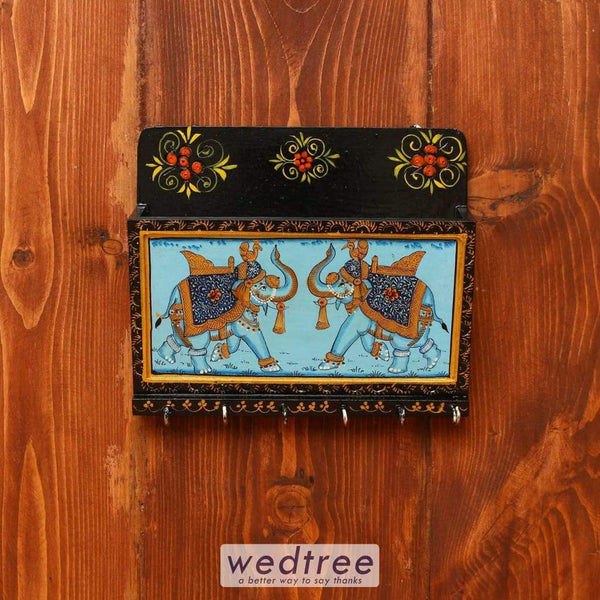 Wooden Hand Painted Letter Pad With Key Hanger 8 X 7 Inch - W3616 Hangers