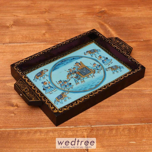 Wooden Hand Painted Tray 12 X 9 Inch - W3628 Trays & Plates