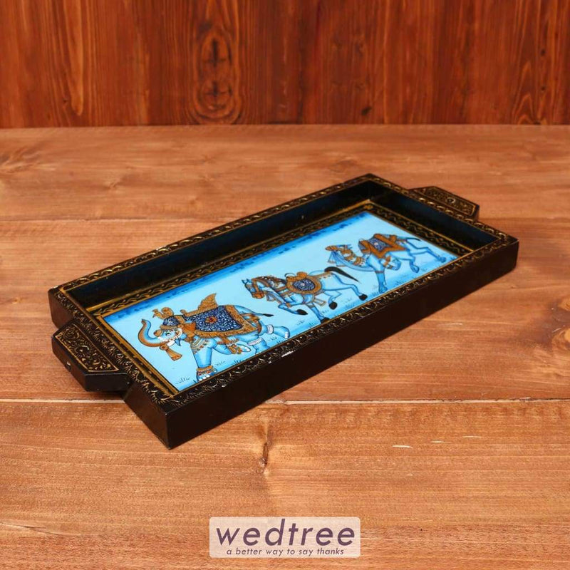 Wooden Hand Painted Tray 6 X 12 Inch - W3615 Trays & Plates