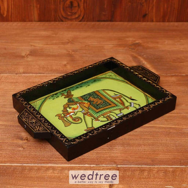 Wooden Hand Painted Tray 8 X 6 Inch - W3614 Trays & Plates