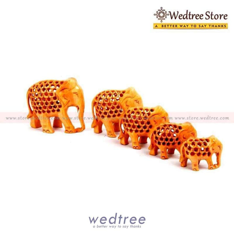 Wooden Jali Elephant Set Of 5 Home Decors