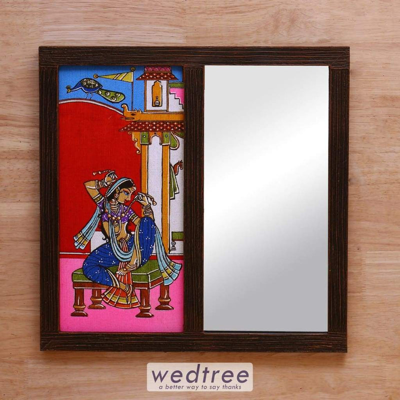 Wooden Mirror With Jute Art Indian Woman - W4151 Home Decors