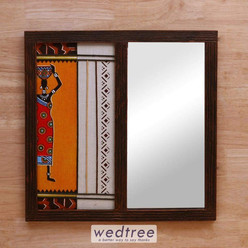 Wooden Mirror With Jute Art Lady - W4150 Home Decors