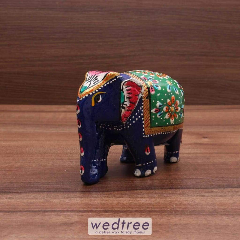 Wooden Painted Elephant 3 Inches Home Decors
