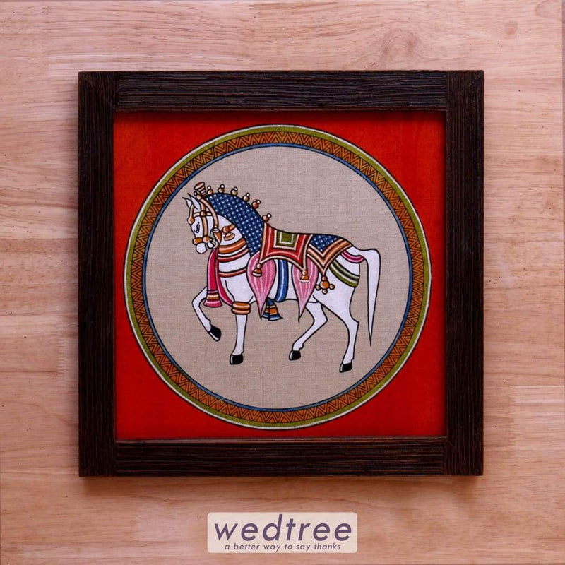 Wooden Wall Hanging With Jute Art Horse - W4144 Home Decors