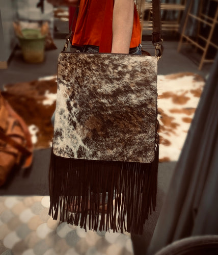 Tooled leather & hide fringe bag #617