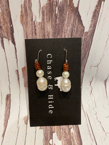 Leather and Pearl Earrings Deep Tan #235
