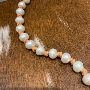 Pearl and leather knotted necklace  #404