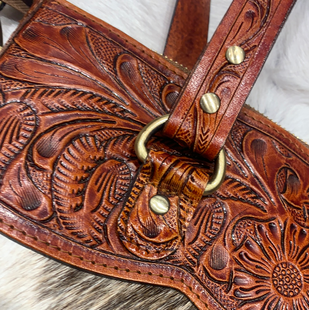 Hide and tooled leather handbag #ft2