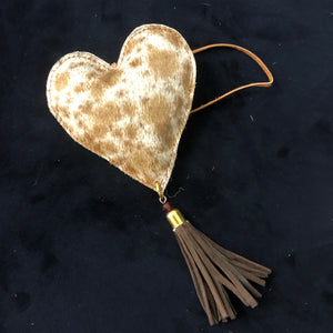 Assorted tan and white Cowhide heart