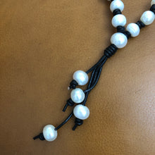 Pearl and Black Leather Tassel Necklace