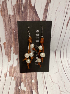 Pearl and Leather Tassel Earrings #123