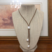 Leather and Pearl lariat necklace dark tan #317