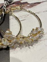 Gold pearl hoops #166