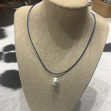 Single drop pearl blue necklace #446