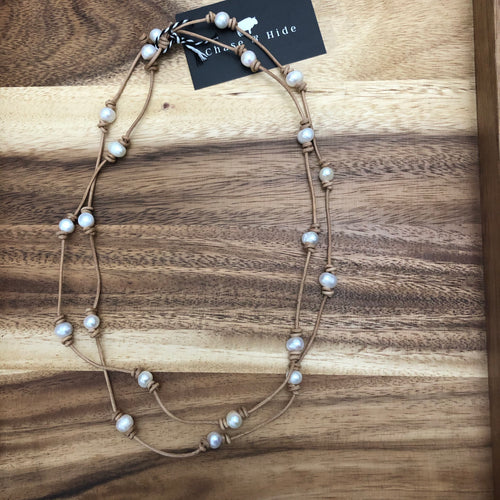 Leather and Pearl Necklace / wrap bracelet 55""