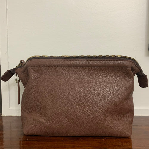 Toiletry Bag Dark Brown Leather