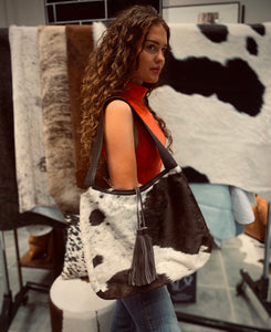 Cowhide Tote Bag with Tassel #783