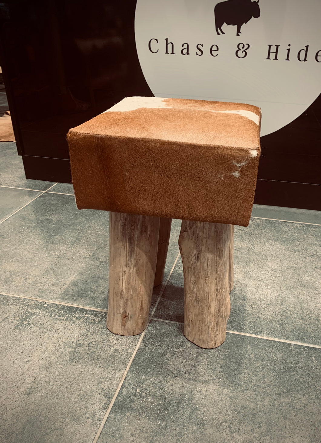Hide and wood stool #892