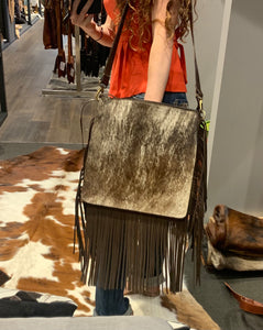 Tooled leather & hide fringe bag #618