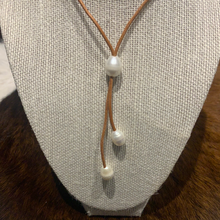 Leather and Pearl lariat necklace light tan #317