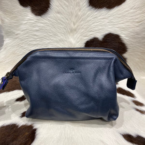 Toiletry Bag Navy Leather