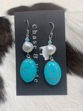 Crystal, pearl and turquoise earrings #502
