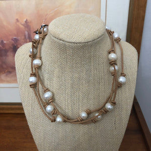 Leather and Pearl Necklace / wrap bracelet 51""