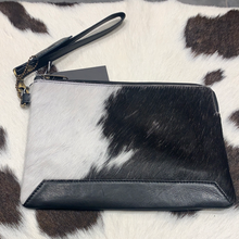 Hide & leather midi clutch #202