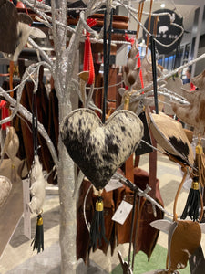 Assorted black and white Cowhide heart