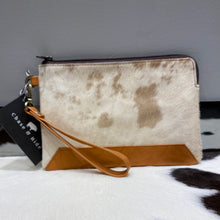 Hide & leather midi clutch #197