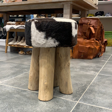Hide and wood stool #893
