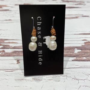 Leather and Pearl Earrings. Light leather #235