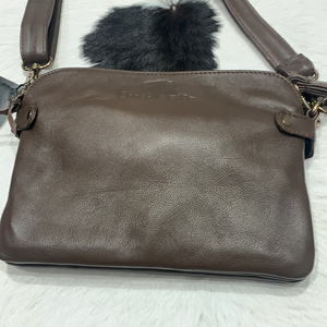 Chocolate double zipper leather handbag