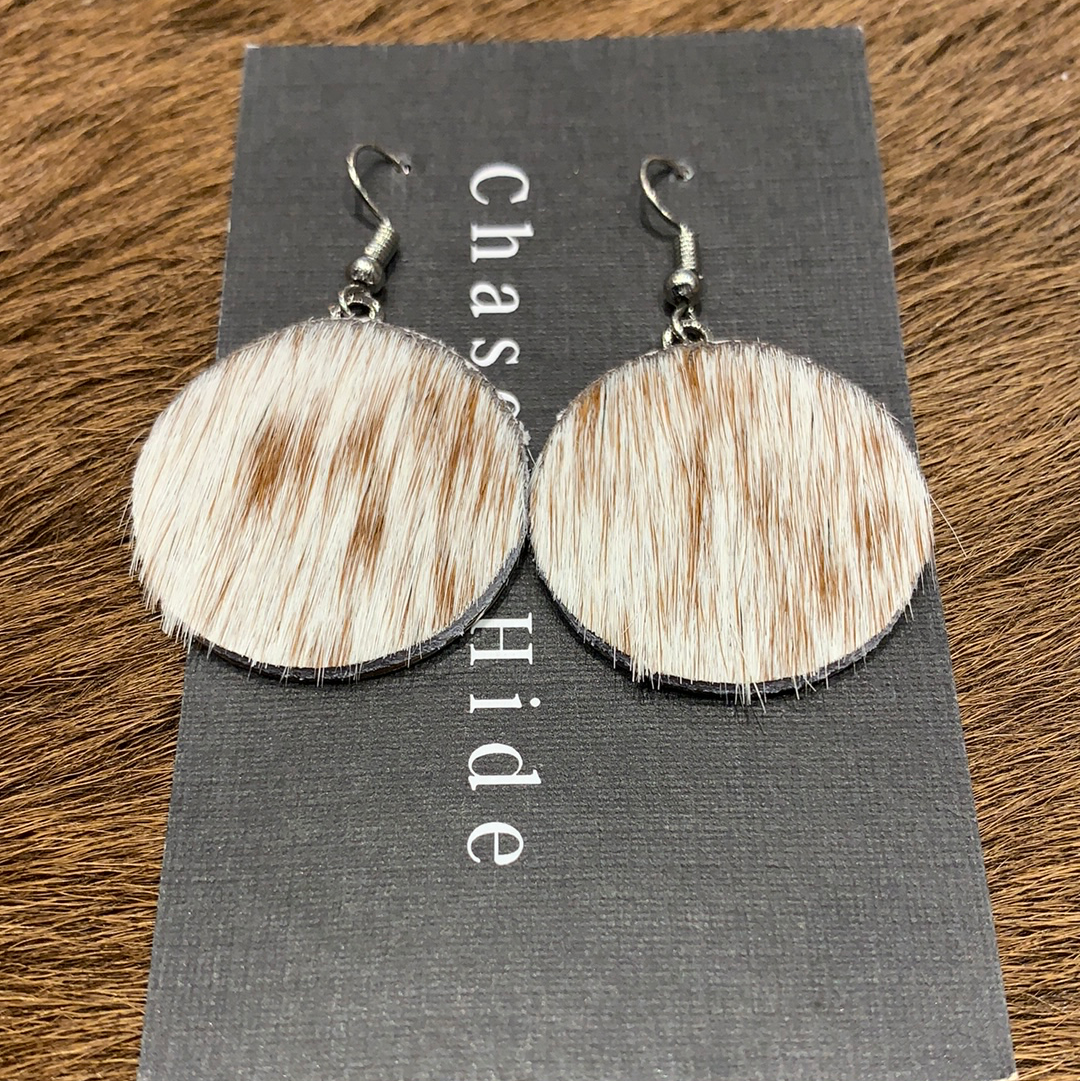 Brown & white circle hide drop earrings #450