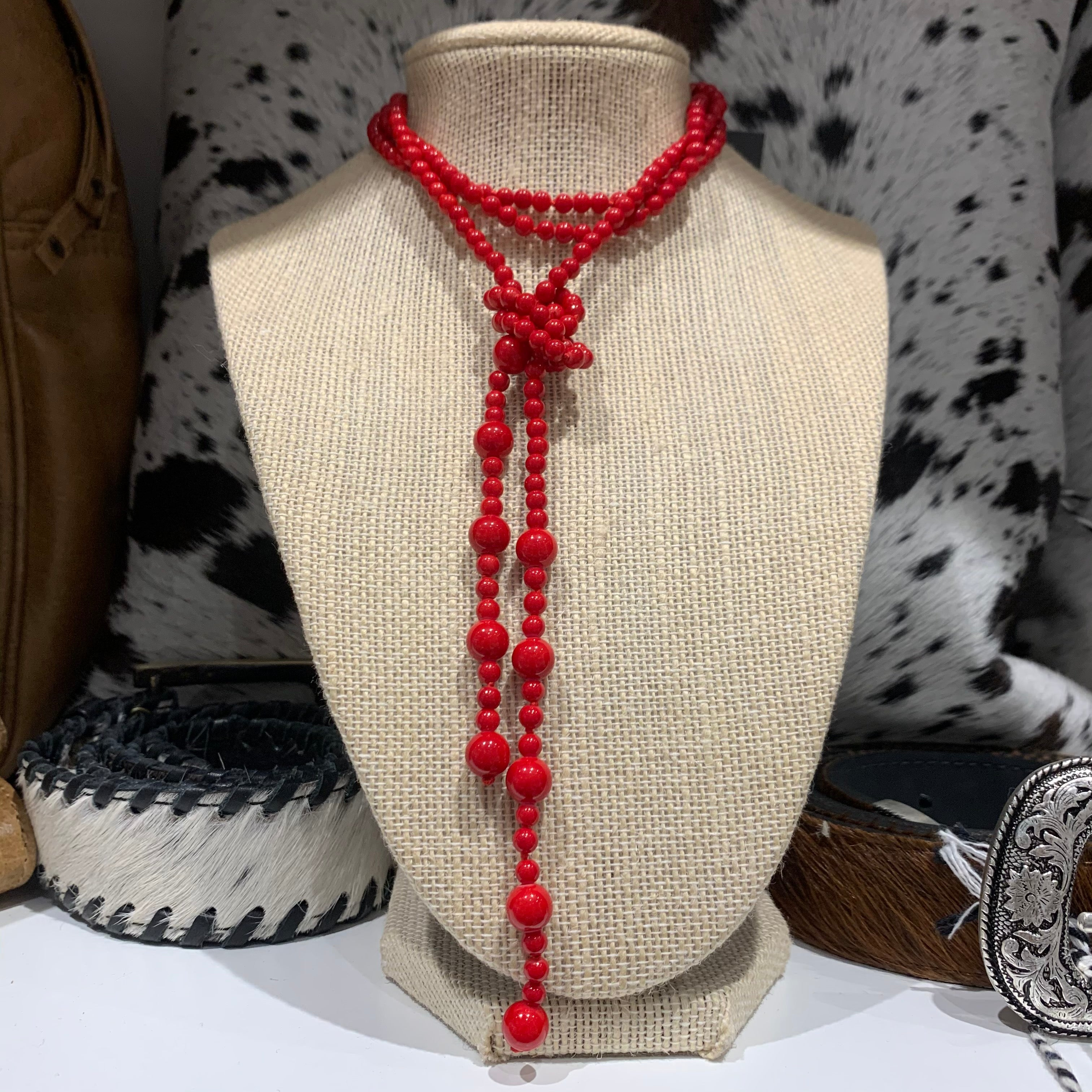 Red Dyed Jade lariat #99