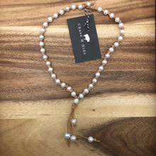 Pearl and leather necklace light natural tan #319