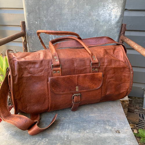 Leather duffle bag small