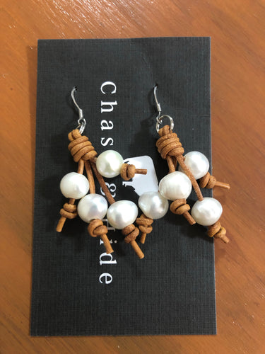Pearl and Leather Tassel Earrings