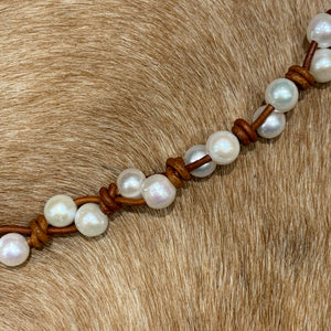 Dark Tan Leather and Pearl Bracelet #611
