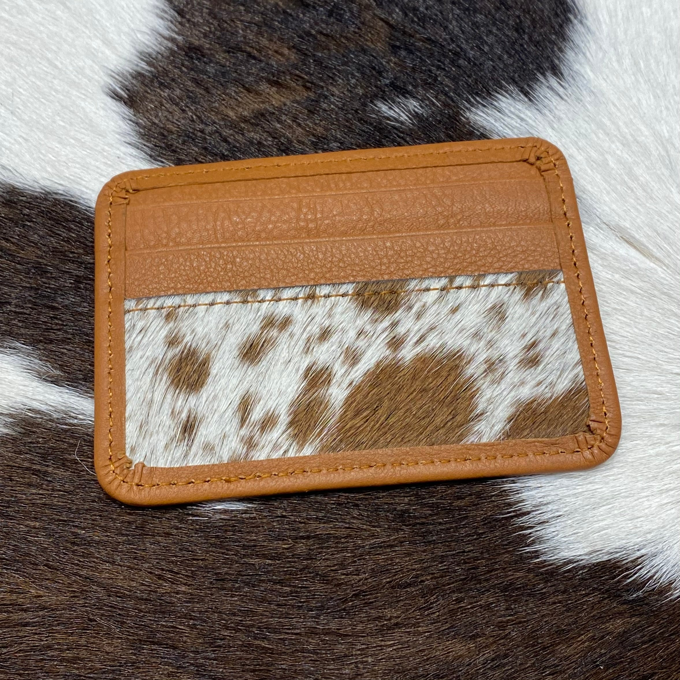 Leather and hide Card Holder tan #C9