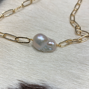 Baroque Freshwater Pearl ; gold plated. #b303