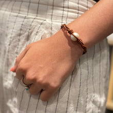 Leather Bracelet single pearl #301