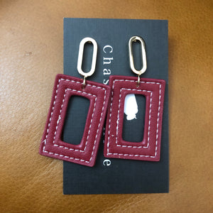 Gold and Red Leather Earrings