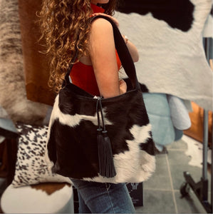 Cowhide Tote Bag with Tassel #782
