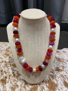 Pink agate pearl necklace
