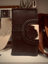 Black Leather and Hide Weave Wallet #177