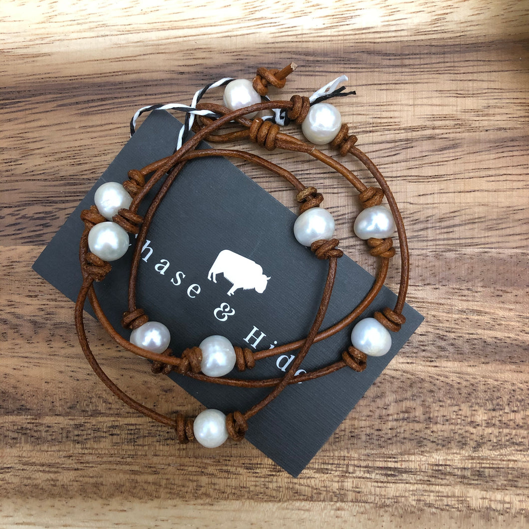 "Leather and Pearl Necklace / wrap bracelet 24""Deep Tan"